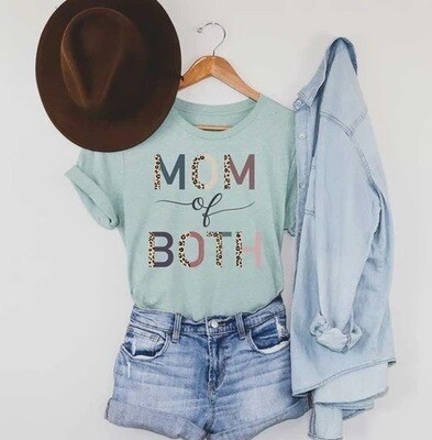 Mom of Both Leopard Print Mom Shirt