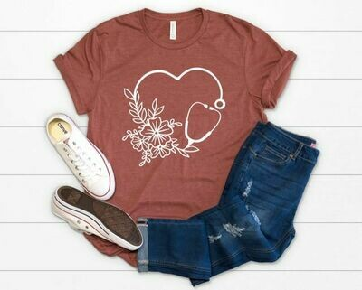 Floral Stethoscope Tee