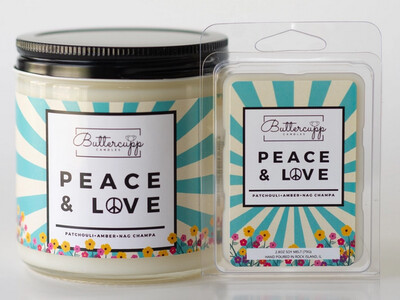 Peace & Love  - Buttercup Candles (Multiple Sizes)