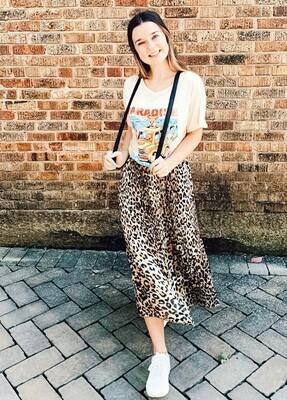 Leopard Pleated Midi Skirt