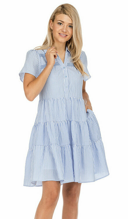 Joy Joy Babydoll Stripe Dress