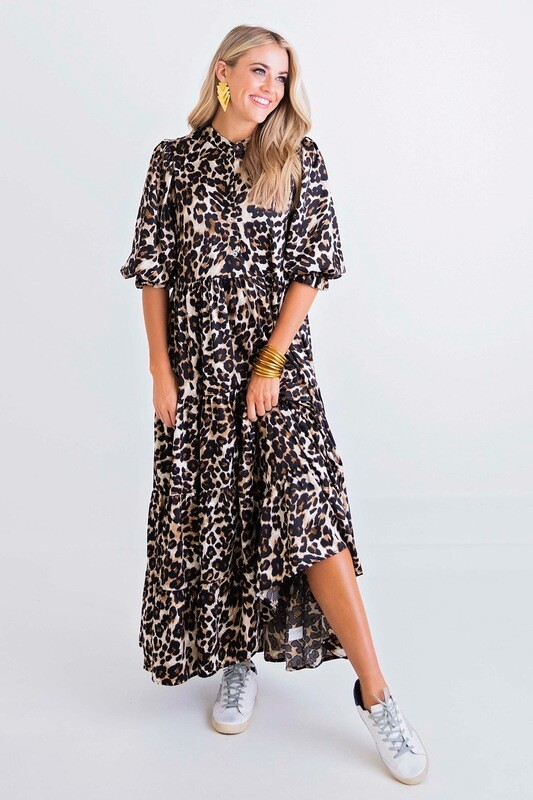 Leopard Tier Midi Dress