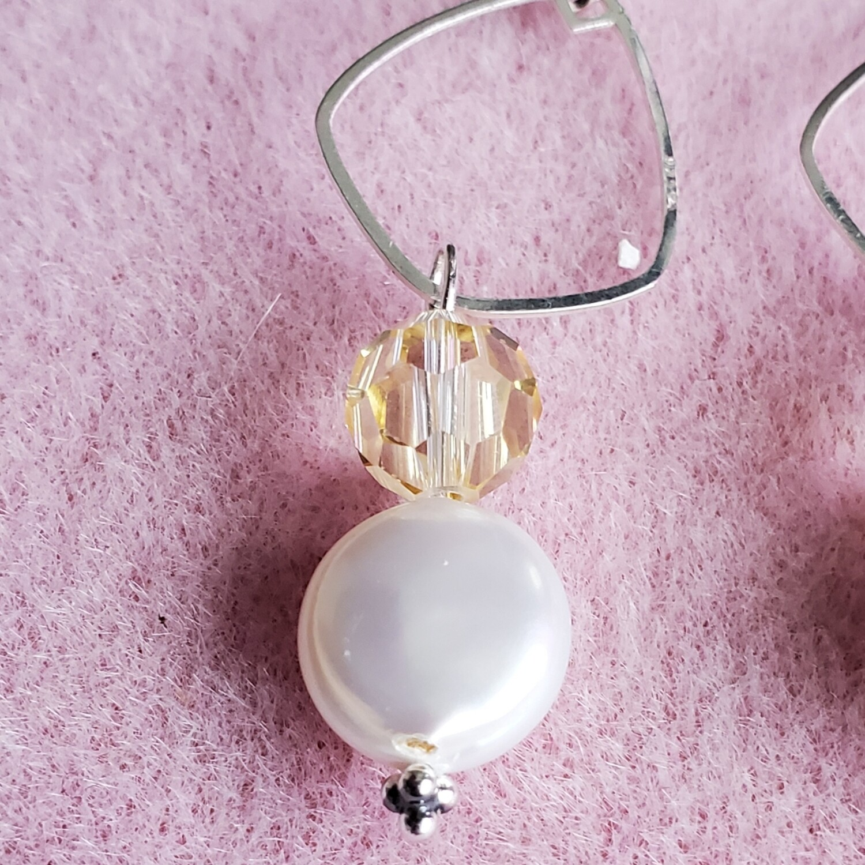 Swarovski and Natural Coin Pearl Dangle Earrings