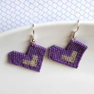 Lilac and Silver Heart Earrings