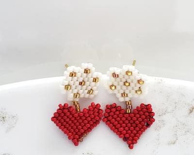 Handmade Beaded Beige, Gold and Red Earrings