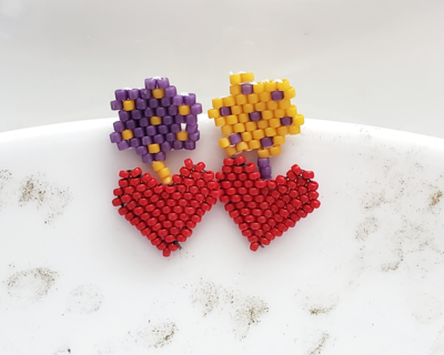 Colorful Heart and Flower Handmade Beaded Earrings,