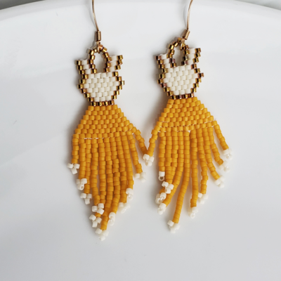 Beige, Gold and White Earrings