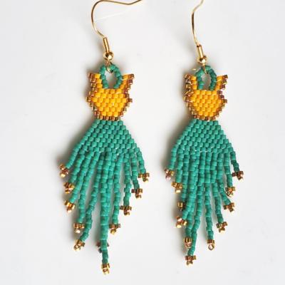 Emerald Green, Beige and Gold Earrings