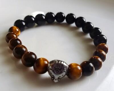 Black Onyx, Tiger's Eye and Lion's Head Stainless Steel Stretch Gemstone Bracelet