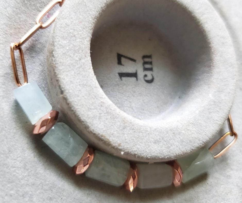 Handmade Cleansing Aquamarine Cylinder Beads & Rose Gold Hematite Bracelet
