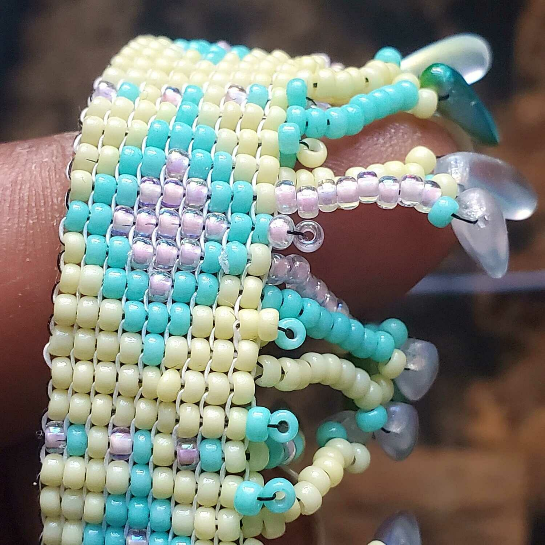 Hand sewn Caribbean Treasure Aquamarine & Lime Green Miyuki Bead Anklet