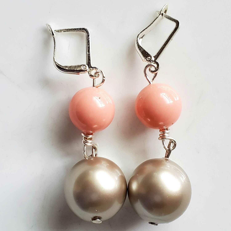 Grey & Pink Beaded Long Swarovski Earrings