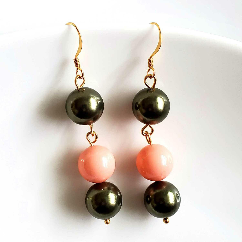 Green and Pink Swarovski Pearls Long Earrings