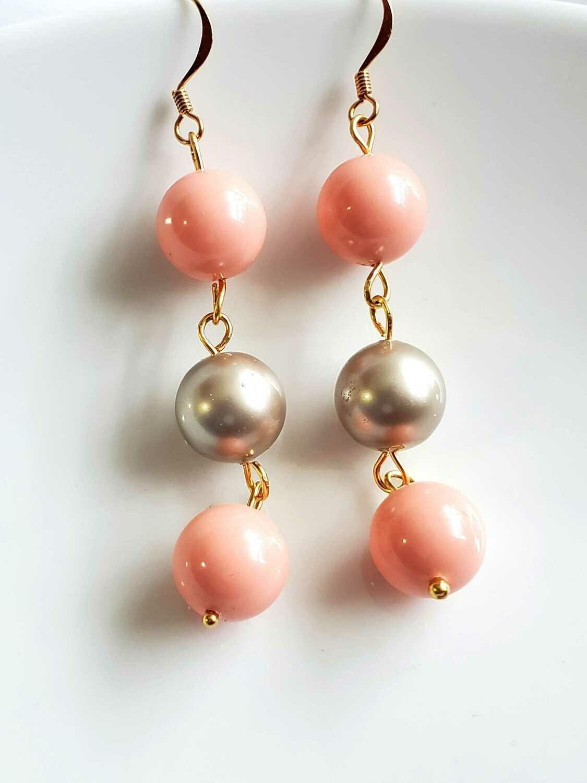 Silver and Pink Dangle & Drop Beaded Swarovski Earrings