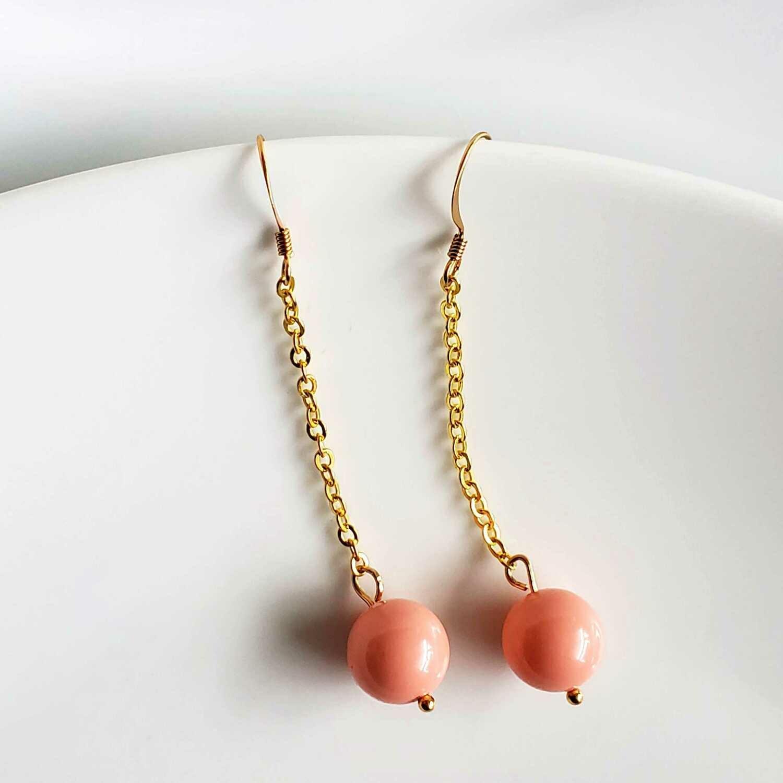 Long Dangle Pink Swarovski Earrings