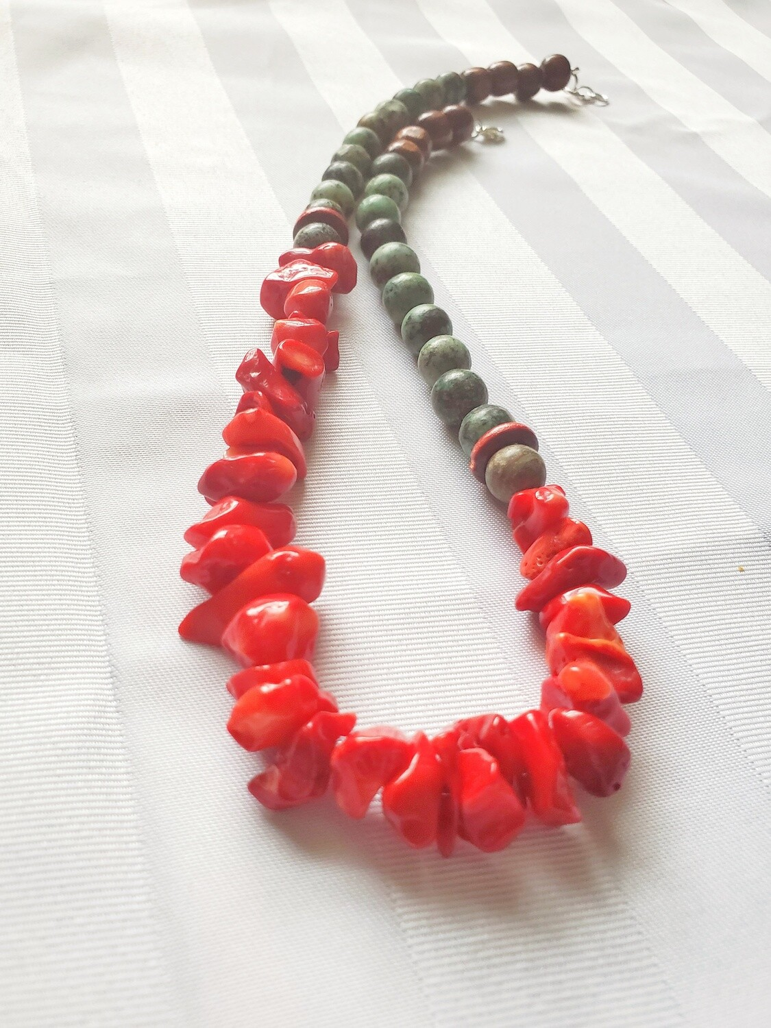 Red Coral Beads, African Turquoise and Wooden Beads Handmade Necklace