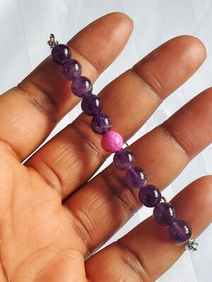 Amethyst and Pink Lace Agate Beaded Chain Bracelet