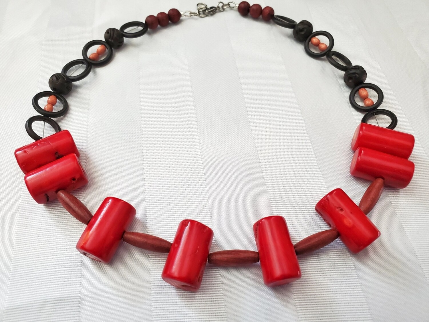 Red Coral, Wood and Bone Beads Tribal Ethnic Necklace