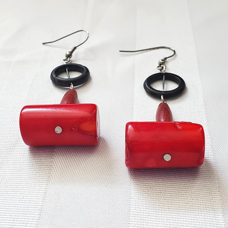 Red Coral Handmade African Earrings