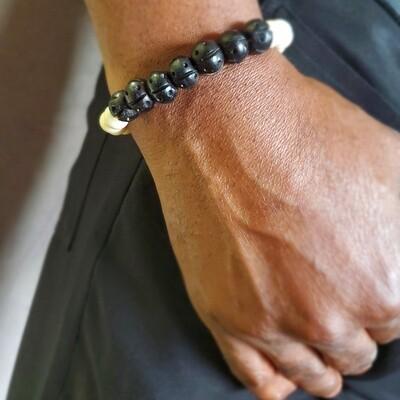 Men's Handmade Bone Bead Bracelet