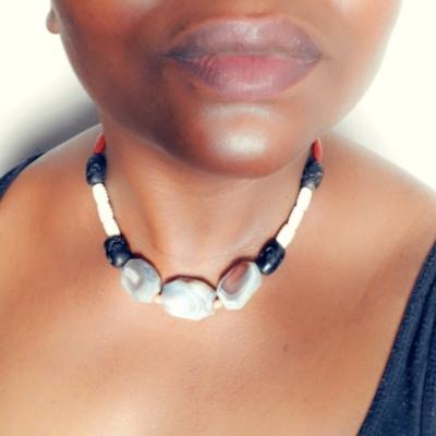 Handmade Necklace with Botswana Agate, Bone and Wood Beads