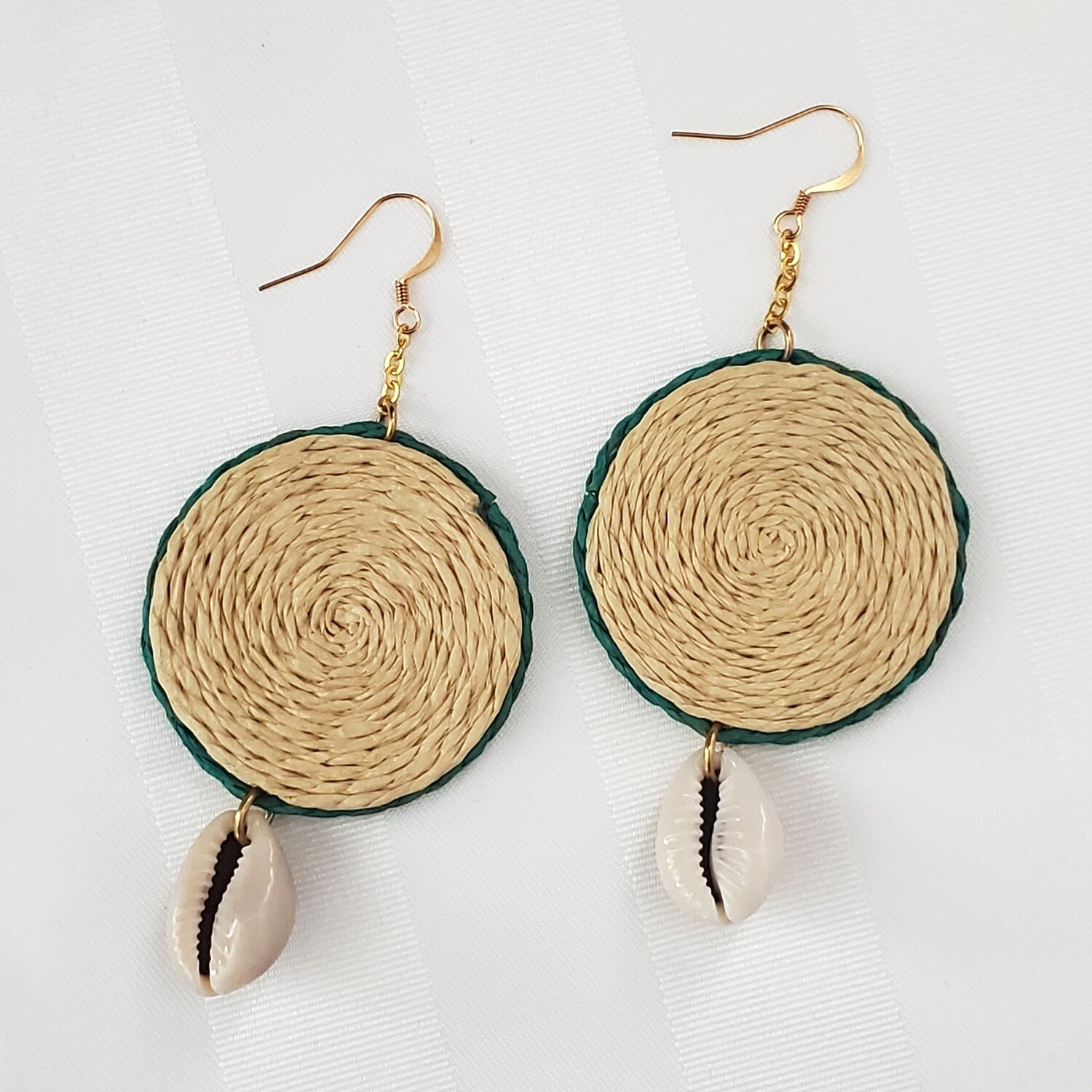 Natural Hand-woven Rattan Wood With Cowrie Shell Earring Hoops