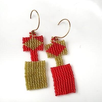 Handmade Red and Yellow Dangle Earrings