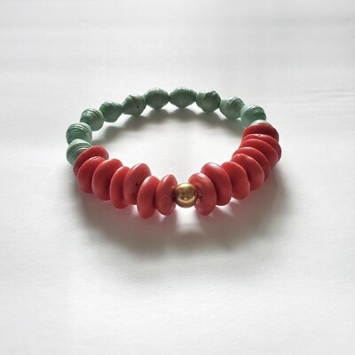 Handmade Recycled Paper and Glass Stretch Bracelet