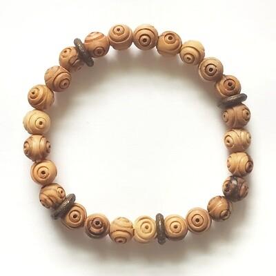 Carved Olive Wood Beaded Bracelet