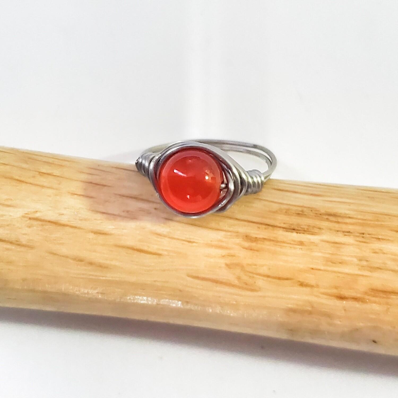 Carnelian Silver Rings, Stackable Carnelian Bead Ring