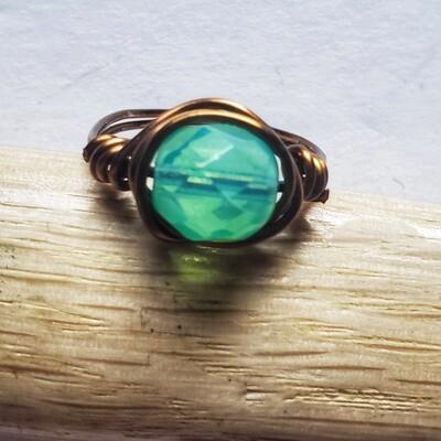 Handmade Jade Opal Glass Bead Vintage Bronze Rings