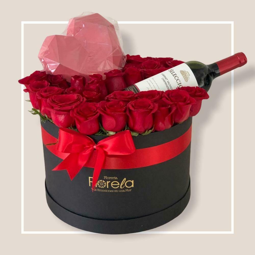 Arreglo de 36 Rosas Vino y Chocolate - Polette
