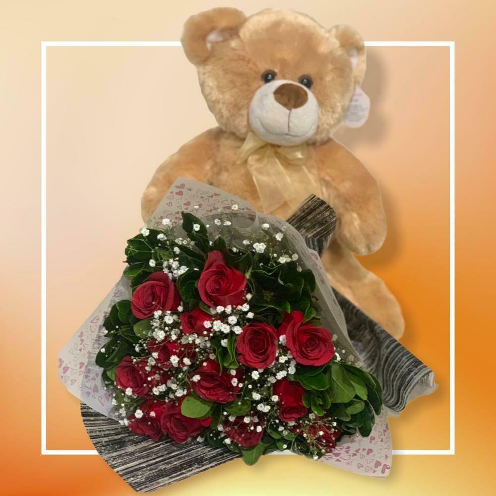 Combo de Oso y Ramos de 12 rosas - Love Teddy 30cm