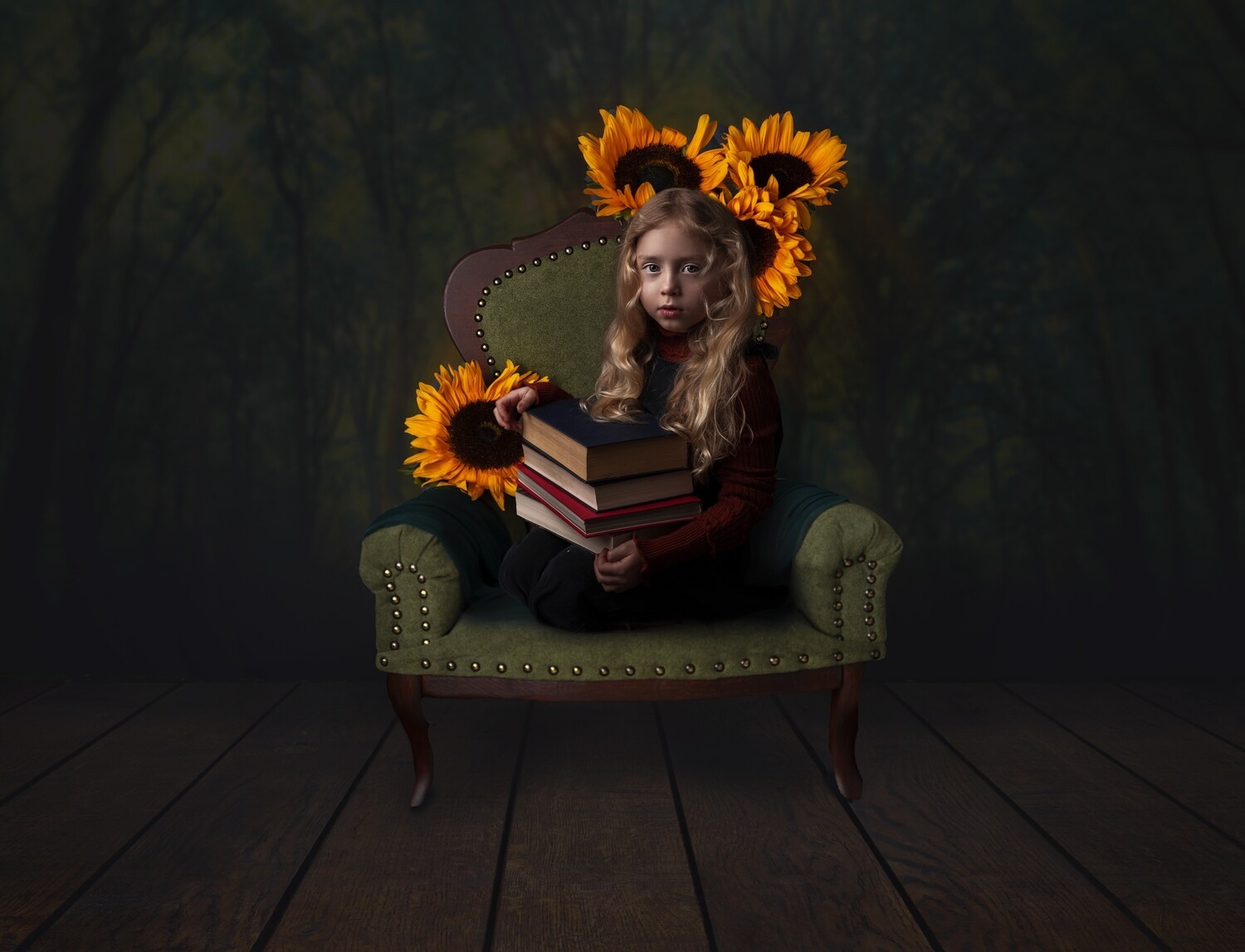 Brown Regal High backed chair, painterly style with candle and books Digital Background