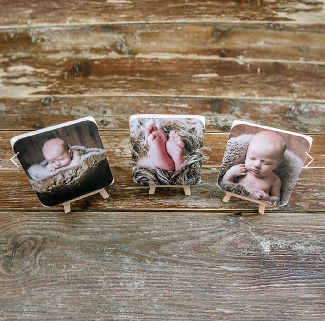 """Newborn Session products: 3x 4""""x4"""" mini wooden blocks"""
