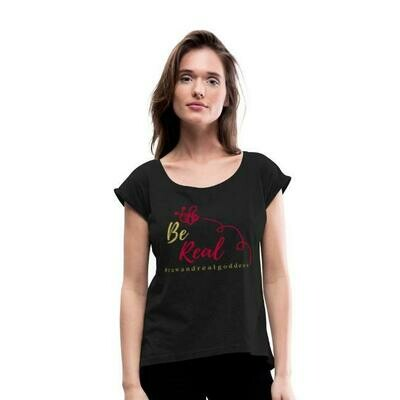 Be Real Roll Cuff Tee in Black