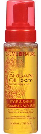 #24438 Creme of Nature with Argan Oil Style & Shine Foaming Mousse 7 fl oz $6.29