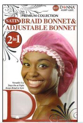 11098  Donna Premium Collection Satin Braid Bonnet & Adjustable Bonnet 2 In 1 $3.99