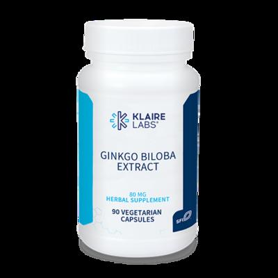 GINKGO BILOBA EXTRACT, Klaire Labs,80 mg,90 VEGETARIAN CAPSULES