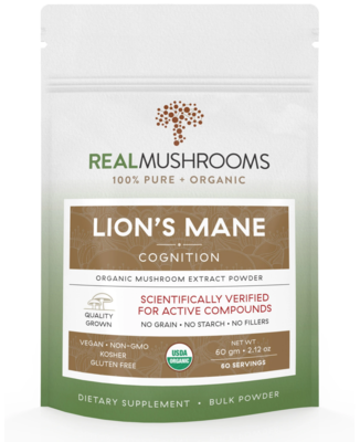 Lions Mane Powder 60 g  Bulk Powder,Real Mushrooms
