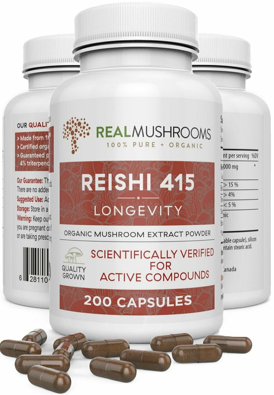 Reishi 415 Longevity 200 capsules Real Mushrooms