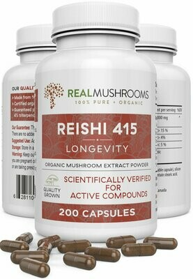 Reishi 415 Longevity 200 capsules ,Real Mushrooms