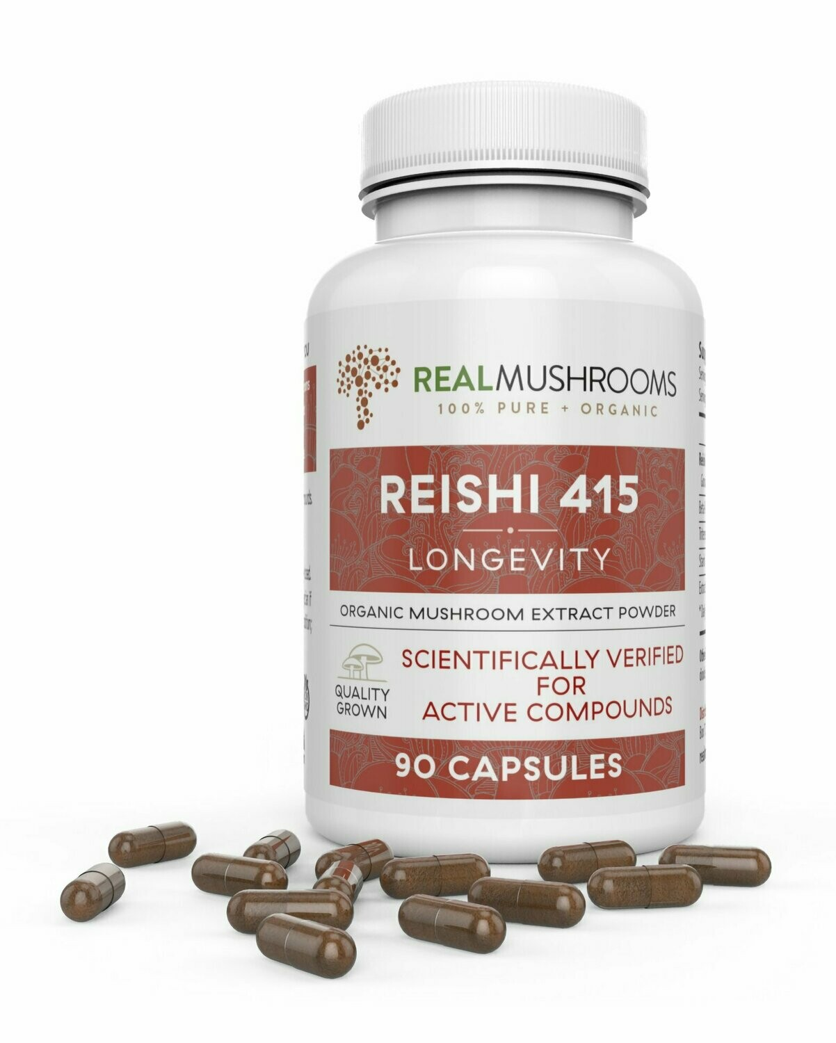 Reishi 415 Longevity 90 Capsules  Real Mushrooms