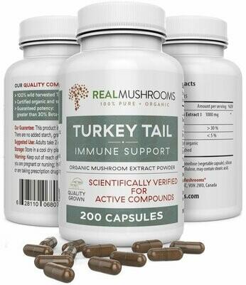 Turkey Tail Extract 200 Capsules ,Real Mushrooms