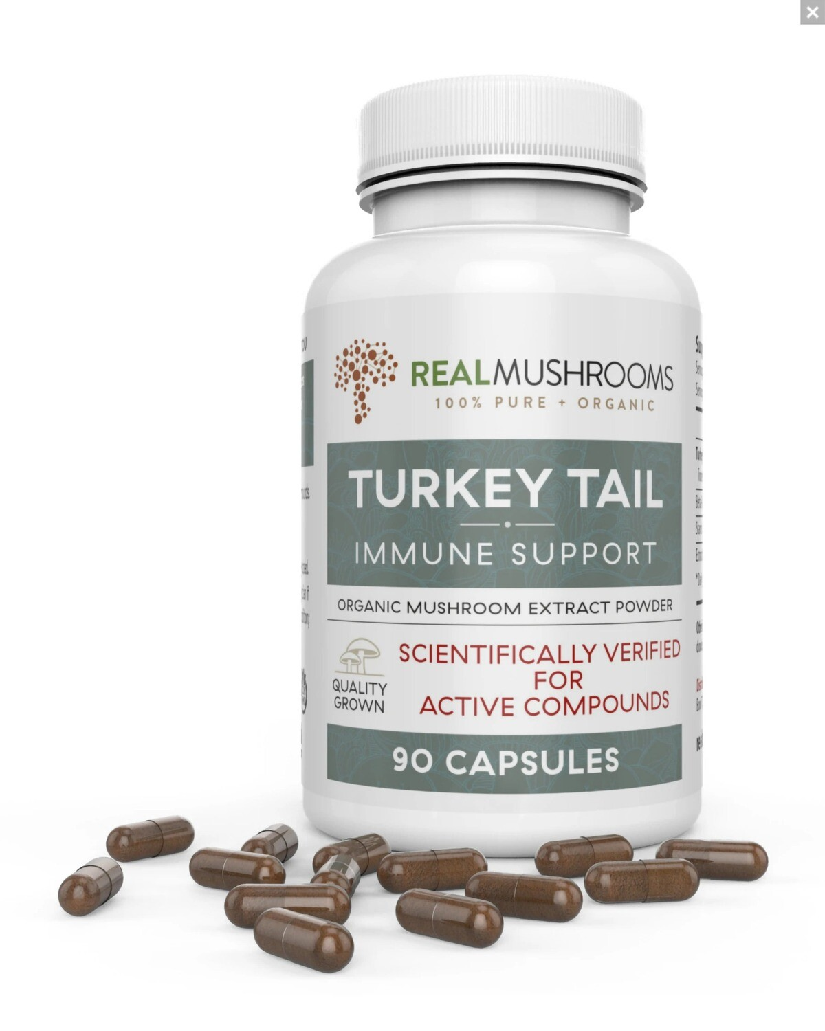 Turkey Tail Extract  90 Capsules, Real Mushrooms