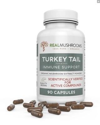 Turkey Tail Extract  90 Capsules, Real Mushrooms