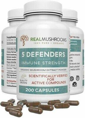 5 Defenders 200 Capsules Real Mushrooms