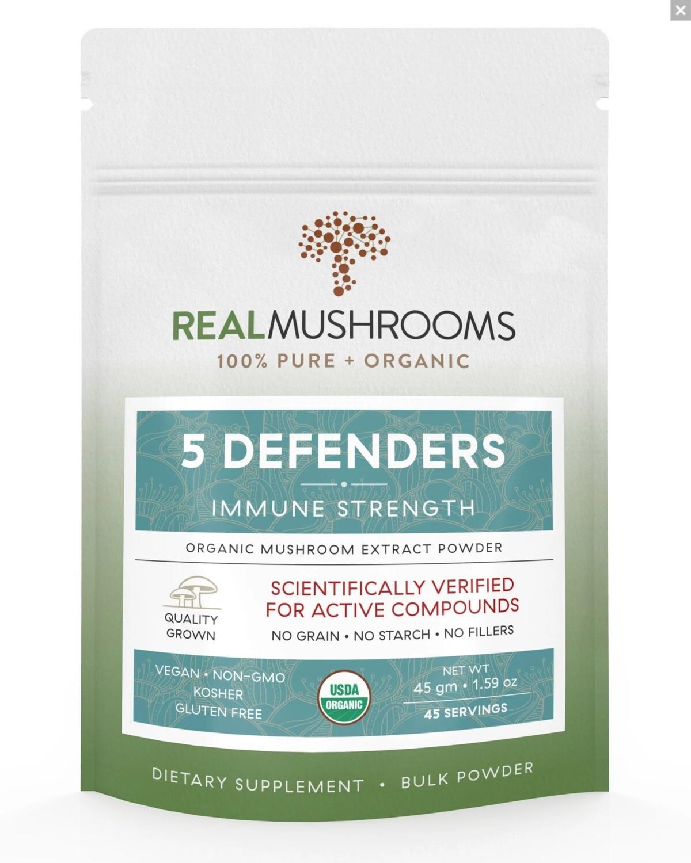 5 Defenders 45g Bulk Powder,Real Mushrooms