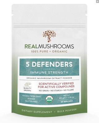 5 Defenders 45g Bulk Powder Real Mushrooms