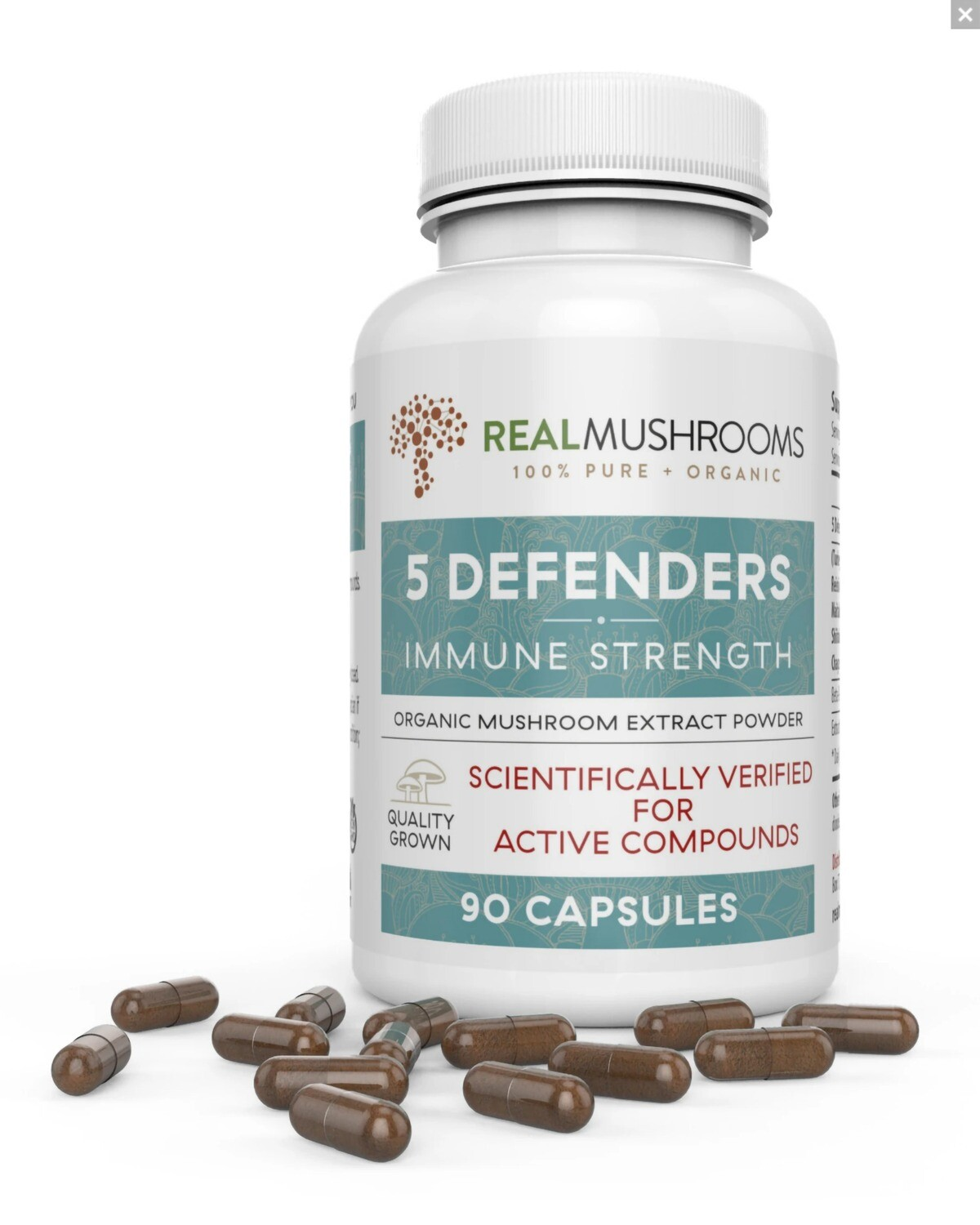 5 Defenders 90 Capsules ,Real Mushrooms